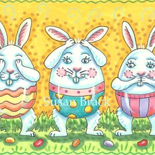 Art: EASTER EGGS SEE NO EVIL #2 by Artist Susan Brack