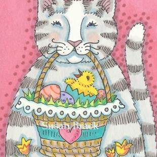 Art: PURRRFECT EASTER BASKET by Artist Susan Brack