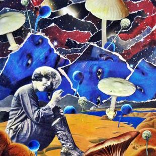 Art: Stopping by Shrooms on a Blue Lit Evening by Artist Vicky Helms