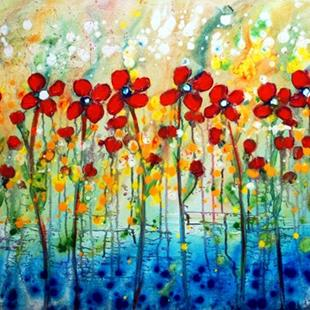 Art: RED DAISY RAINING FLOWERS by Artist LUIZA VIZOLI