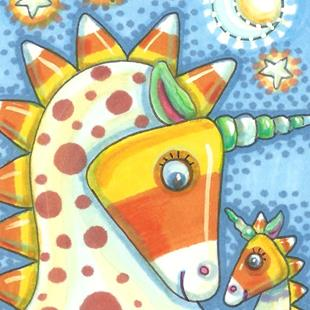 Art: CANDY CORN UNICORNS by Artist Susan Brack