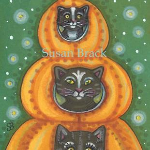 Art: BLACK CAT PUMPKINS by Artist Susan Brack