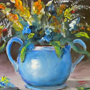 Art: Blue Vase and Flowers by Artist Delilah Smith