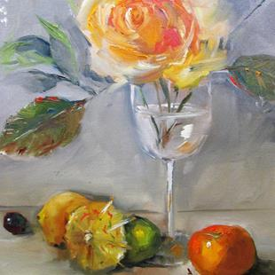 Art: Yellow Rose and Fruit by Artist Delilah Smith