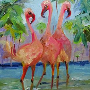 Art: Three Flamingos No. 2 by Artist Delilah Smith