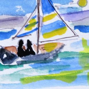 Art: two men in a sailboat by Artist Delilah Smith