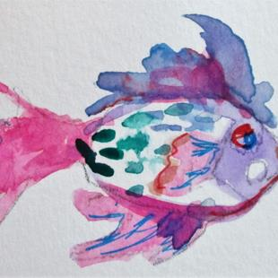 Art: Pink and Purple Fish by Artist Delilah Smith