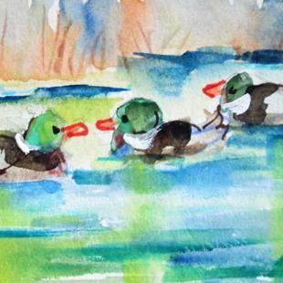 Art: Pond of Ducks by Artist Delilah Smith