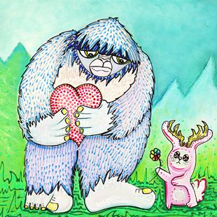Art: The Bigfoot and The Jackalope by Artist Laura Barbosa