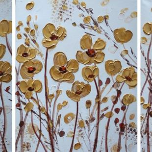 Art: GOLD FLOWERS by Artist LUIZA VIZOLI