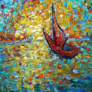 Art: RED BOAT AT SUNSET by Artist LUIZA VIZOLI