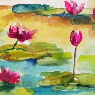 Art: Lily Pads and Water Lilies by Artist Delilah Smith