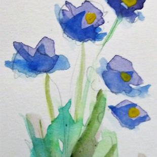 Art: Blue Flower Aceo by Artist Delilah Smith