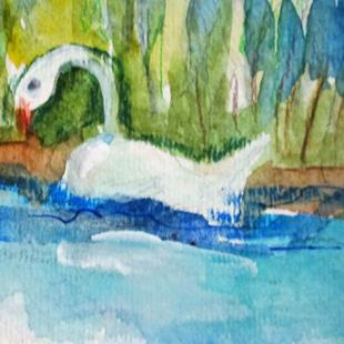 Art: Seven Swans Swimming by Artist Delilah Smith