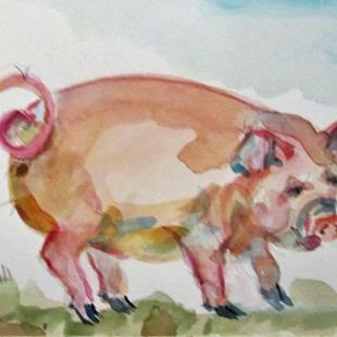 Art: Pig No. 6 by Artist Delilah Smith