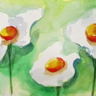 Art: Three White Flowers by Artist Delilah Smith