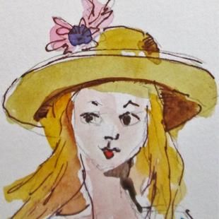 Art: Girl with a Hat No.3 by Artist Delilah Smith