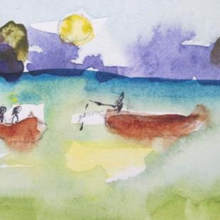 Art: Sunset fishing boats by Artist Delilah Smith