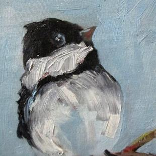 Art: Chickadee on a Branch by Artist Delilah Smith