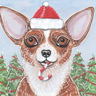 Art: Candy Cane Chih Greeting Card by Artist Melinda Dalke