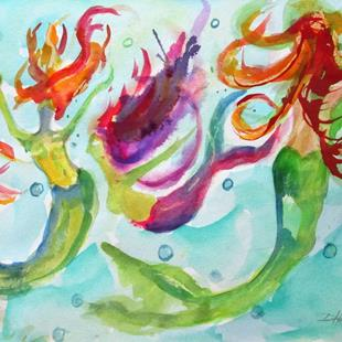 Art: Playful Mermaids by Artist Delilah Smith