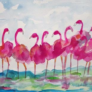 Art: A Flock of Pink by Artist Delilah Smith