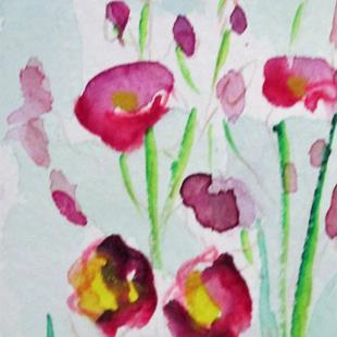 Art: Hollyhocks aceo by Artist Delilah Smith