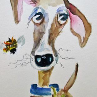 Art: Lucky the Dog and Bee by Artist Delilah Smith