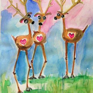 Art: Three Deer by Artist Delilah Smith