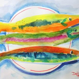 Art: Three Fish on a Plate by Artist Delilah Smith