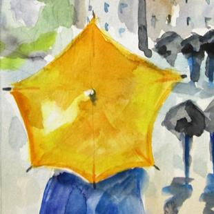 Art: Yellow Umbrella by Artist Delilah Smith
