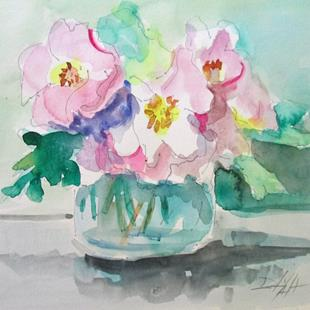 Art: Pink Anemones by Artist Delilah Smith
