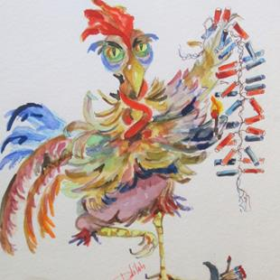 Art: Firecracker Rooster by Artist Delilah Smith