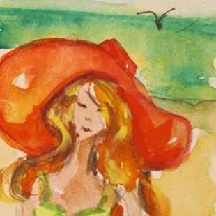 Art: Aceo Beach Girl by Artist Delilah Smith