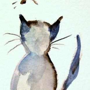 Art: Cat and Butterfly by Artist Delilah Smith