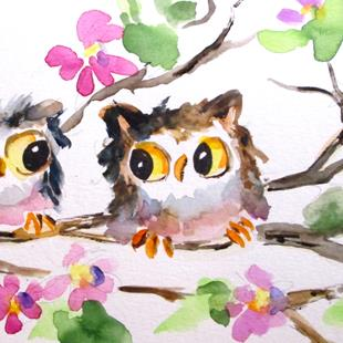 Art: Owls and Blossoms by Artist Delilah Smith