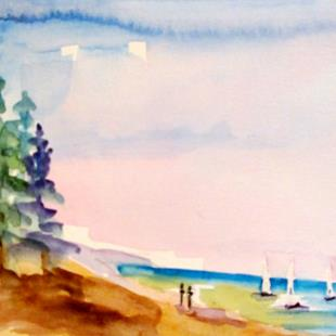 Art: Beach Walkers with Sailboats by Artist Delilah Smith