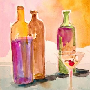Art: Martini and Wine Bottles by Artist Delilah Smith