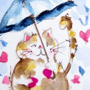 Art: Fat Cat Love and Rain by Artist Delilah Smith