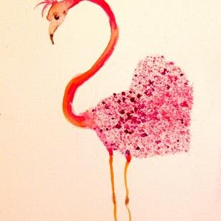 Art: Valentine Pink Flamingo by Artist Delilah Smith