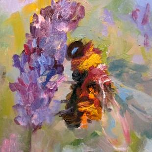 Art: Bee and Lavender No.8 by Artist Delilah Smith