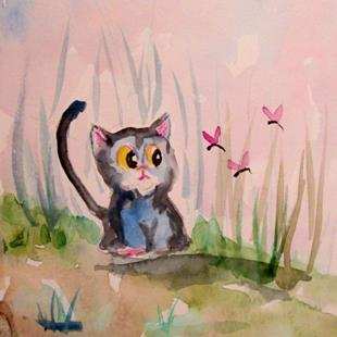 Art: Cat and Dragonfly by Artist Delilah Smith