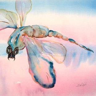 Art: Aqua Blue Dragonfly by Artist Delilah Smith