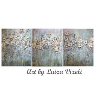 Art: ROSE GOLD FLOWERS by Artist LUIZA VIZOLI