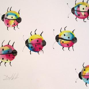 Art: Colorful Ladybugs by Artist Delilah Smith