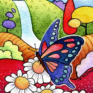 Art: Butterfly and Daisies by Artist Sandra Willard