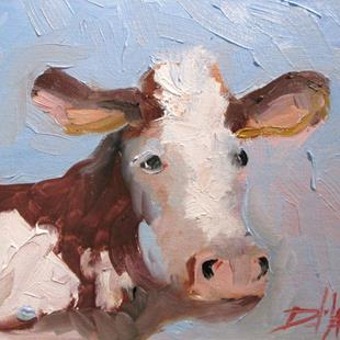 Art: Brown and White Cow by Artist Delilah Smith