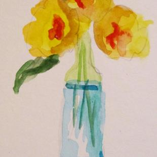 Art: Aceo Vase of Flowers by Artist Delilah Smith