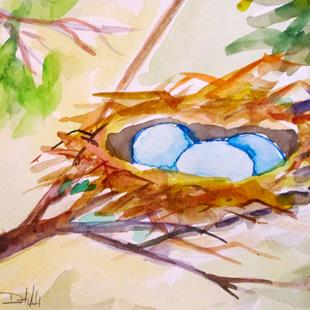 Art: Nest with Blue Eggs by Artist Delilah Smith