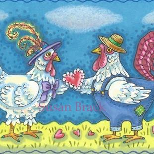 Art: BIRDS OF A FEATHER SHARE HEARTS TOGETHER by Artist Susan Brack
